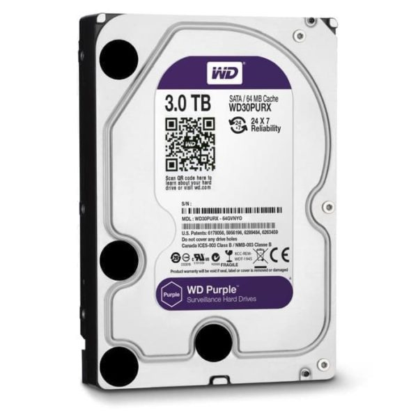 HDD WDC PURPLE 3TB FOR CCTV 3.5 INCH SATA 3-Harddisk WD internal PC
