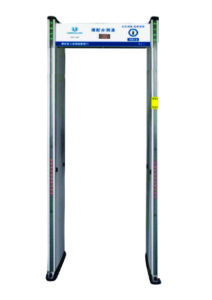 Sensor Suhu Tubuh melalui Non-contack Human Sensor Temperature Walk Through Metal Detector.